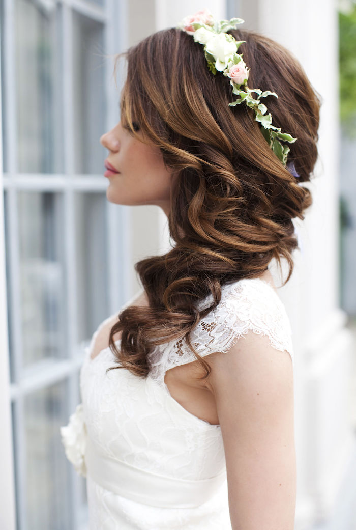 coiffure mariage brune cheveux long - Maquillage mariage