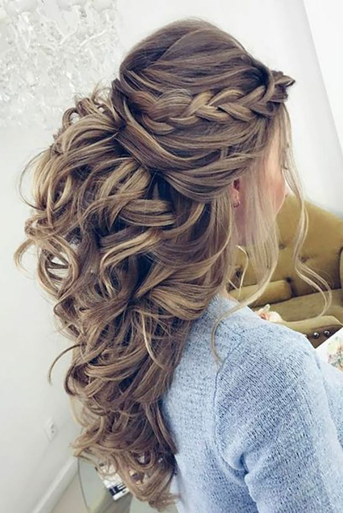 Coiffure mariage cheveux mi long moderne